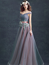 Ball Gown Off-the-shoulder Floor Length Lace Tulle Prom Formal Evening Dress with Lace by ARMK