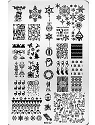 el arte del clavo feliz regalo de navidad del árbol de navidad nieve bricolaje placas de acero de uñas de arte plantillas MR02