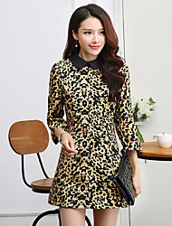 Women's Vintage Leopard A Line Dress,Shirt Collar Above Knee Polyester
