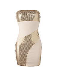XiXiangYi® Women's Sexy Strapless with Sequins Cotton and Spandex Mini Dress