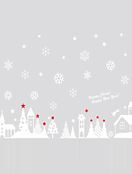 Free Shipping - Wall Stickers Wall Decals Style Christmas Cottage PVC Wall Stickers
