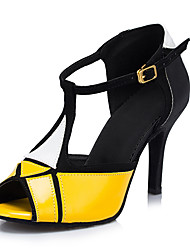 Customizable Women's Dance Shoes Latin Leatherette Stiletto Heel Yellow