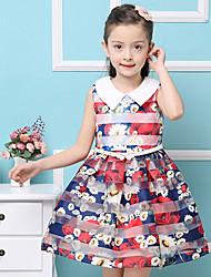 Menina de Vestido Verão Algodão Azul