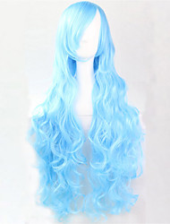 Europe And The United States The New Color Wig 80 CM High Temperature Wire Water Blue Curly Hair Wig