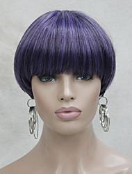 centre de la mode peau dot top lumière violet mix bob noir style champignon perruque avec une frange