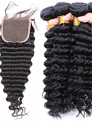 Trama do cabelo com Encerramento Cabelo Brasileiro Onda Profunda tece cabelo
