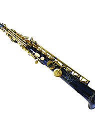 Blue body gold key B flat straight Soprano Saxophone,Sax custom
