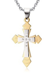 Necklace Pendant Necklaces / Pendants / Layered Necklaces Jewelry Daily / Casual Cross Stainless Steel Gold 1pc Gift