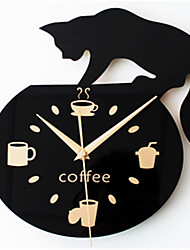Coffee Lovely Cat Climbing Wall Clock