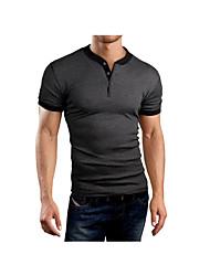 Herren T-shirt-Einfarbig Freizeit Baumwolle Kurz-Blau / Grau