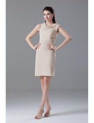 Cocktail Party Dress-Champagne Sheath/Column Jewel Knee-length Chiffon