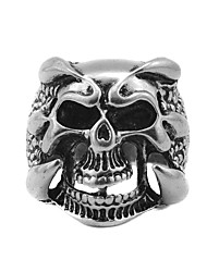 Toonykelly® Vintage Look Antique Silver Alloy Punk Skull Men Biker Motor Ring (1pc)