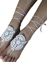 Women's Fashion Crochet Cotton Bracelet Net Ankle Chain  Barefoot Sandals