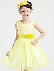 Girl's Blue / Pink / Yellow Dress,Print Cotton / Polyester Summer