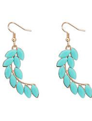 Hot Sale Bohemian Vintage Silver Leaf Feather Big Drop Earrings Women 2015 New Fashion Long Earrings