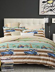 4PC Duvet Cover Set  Fresh Style Cotton Pattern Queen King Size Cartoon Car