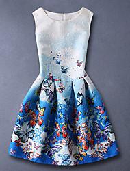Menina de Vestido,Casual Estampado Algodão Verão Azul