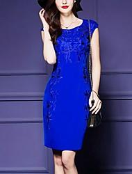 Gaine Robe Sortie / Grandes Tailles simple,Imprimé Col Arrondi Au dessus du genou Sans Manches Bleu / Rouge Polyester Eté Taille Normale