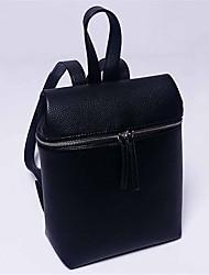Women Casual / Shopping Cowhide Zipper Backpack