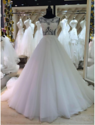 A-line Wedding Dress Chapel Train Scoop Lace / Tulle with Appliques / Beading / Lace / Sash / Ribbon / Sequin
