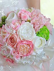 Newest Style Hand Made Top Quality Lovely Pink Brooch Silk Peony  Flower Bridal Wedding Bouquet Wedding Decoration