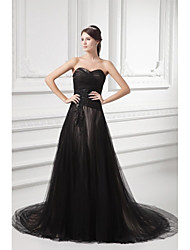 Formal Evening Dress-Black A-line Sweetheart Court Train Tulle