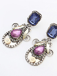 Drop Earrings Acrylic Alloy Fashion Drop White Purple Jewelry Party Daily 1 pair