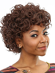Heat Resistant Cheap Fake Hair Wig Short Curly Brown Synthetic Wigs for Black Women