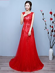 Formal Evening Dress Trumpet/Mermaid Scoop Sweep/Brush Train Lace