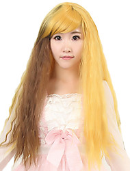 24 inch Women Long Corn Deep Wave Synthetic Hair Wig Yellow Ombre Brown with Free Hair Net