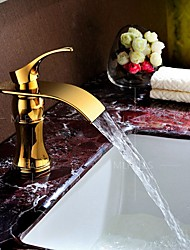 Hot Selling Gold Finish Deck Mounted Basin Sink Faucet Waterfall Spout Single hole Single Handle Mixer Taps Top Grade