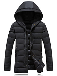 Men's Long Padded Coat,Spandex Solid Long Sleeve