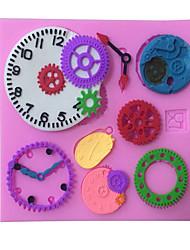 Random Color 3D Clock watch gear cake mold silicone mold bakeware mold chocolate soap mold baking forma de silicone
