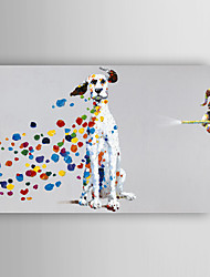 Hand Painted Oil Painting Animal Mischievous Dog with Stretched Frame 7 Wall Arts®