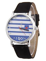 nacional listras da bandeira da correia de couro individualidade relógios de relaxamento moda moda quartzo jeans de senhora