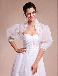 Wedding  Wraps Shrugs 3/4-Length Sleeve Lace / Organza White Wedding / Party/Evening / Casual Lace Open Front