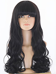 Top Quality Long Black Wavy Hair Women Synthetic Wig