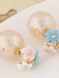 Earring Flower Stud Earrings Jewelry Women Fashion / Double Sided Party / Daily / Casual 1 pair White / Gray / Pink