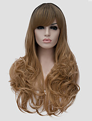Most Popular Long Size Multi-color Black Mix Blonde Curly Hair Synthetic Wigs