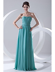 A-Line Strapless Floor Length Chiffon Formal Evening Dress with Pleats