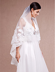Wedding Veil One-tier Chapel Veils Lace Applique Edge Tulle Lace Ivory