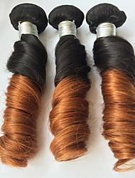 """3 PC / Los 12 """"-24"""" brasilianisches lockiges Feder ombre reines Haar Farbe 1b / 30 unverarbeitete Menschenhaar spinnt"""