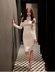 Women's Simple Sheath Dress,Solid Stand Knee-length Long Sleeve White Cotton / Polyester Spring