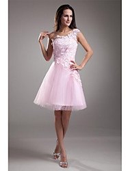 A-Line One Shoulder Short / Mini Tulle Cocktail Party Homecoming Prom Dress with Appliques Lace