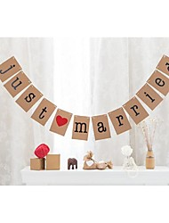 Vintage Kraft Paper Rustic Wedding JUST MARRIED Banner Bunting Garlands With String
