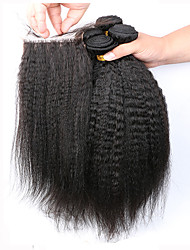 7A Grade Virgin Hair Brazilian Kinky Straight Coarse Yaki 5 Piece/Lot Human Hair Weaves Kinky Straight