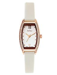 Julius® Fashion Temperament Office Lady Watch Tonneau Case Rhinestone Women Leather Belt Waterproof Wristwatch JA-743 Cool Watches Unique Watches
