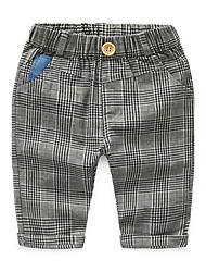 Summer Baby Kids Children Boys Casual Plaid Checked Letter Belt Long Pants Full Length Trousers