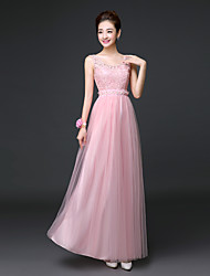 Ankle-length Lace / Satin / Tulle Bridesmaid Dress A-line Scoop with Lace