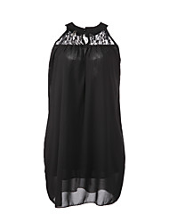 Women's Sexy Casual Lace Plus Sizes Inelastic Sleeveless Above Knee Dress (Chiffon)